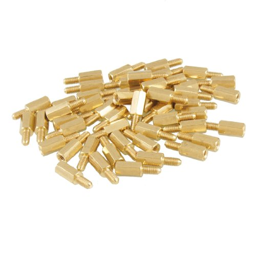 Uxcell a12092200ux0090 50 Pcs Brass Screw Thread PCB Stand-off Spacer M3 Male x M3 Female 6mm (Pack of 50)
