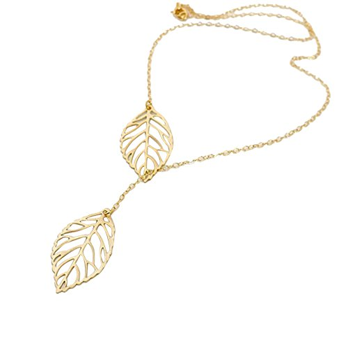 (TOPUNDER Womens Girls Simple Metal Double Leaf Pendant Alloy Choker Necklace by )