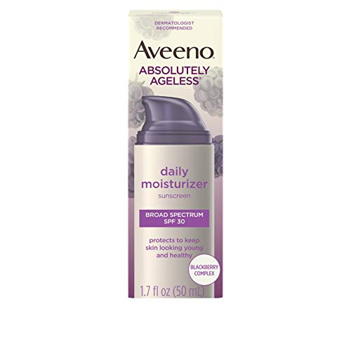 Aveeno Absolutely Ageless Daily Facial Moisturizer with Broad Spectrum SPF 30 Sunscreen, Antioxidant-Rich Blackberry Complex, Vitamins C & E, Hypoallergenic, Non-Comedogenic & Oil-Free, 1.7 fl. oz (Best Daily Face Lotion)