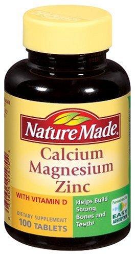 Nature Made Calcium, Magnésium, Zinc et de vitamine D, avec D-3 100 Comprimés (pack de 3)