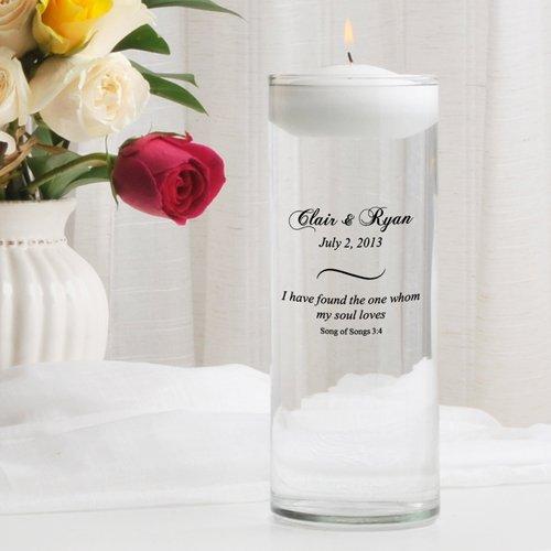 Personalized Floating Wedding Unity Candle - Personalized Wedding Candle - Custom Wedding Unity Candle - Song of (Floating Unity Candle)