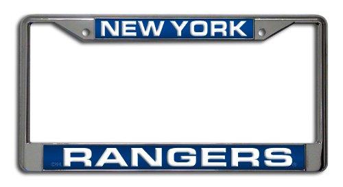 Rico Industries NHL New York Rangers Laser Cut Inlaid Standard Chrome License Plate Frame - New York Rangers Laser