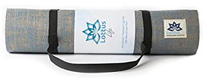 "LOTTUS LIFE Natural Jute Fiber Premium Yoga / Exercise Mat w/ Strap – Extra Thick 8mm – Eco-Friendly – Best Yoga Mat for Pilates, Gym, Workout, Home – Extra Long 72"" Non-slip Memory Foam-like"