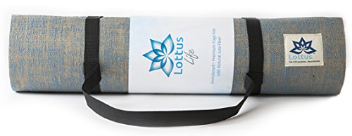 """LOTTUS LIFE Natural Jute Fiber Premium Yoga / Exercise Mat w/ Strap – Extra Thick 8mm – Eco Friendly – Best Yoga Mat for Pilates, Gym, Workout, Home – Extra Long 72"""" Non slip Memory Foam like"""