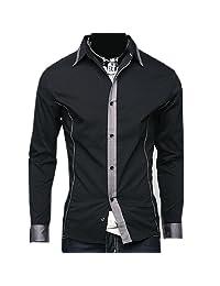 Partiss Mens Slim Fit Long Sleeve Button Dress Shirt