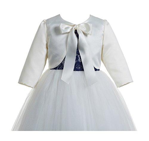 ekidsbridal 3/4 Sleeves Satin Ivory Flower Girl Bolero Girls Jacket Princess Cape Flower Girl Shrug Dress Cover Up (Dress Girls Bolero)