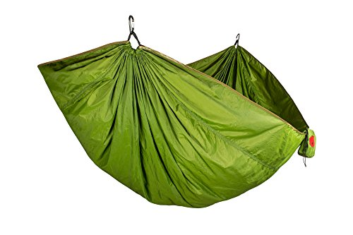 Grand Trunk Double Trunktech Nylon Hammock, Portable with Carabiners, Perfect for Outdoor Adventures, Backpacking, and Festivals, Moss Green