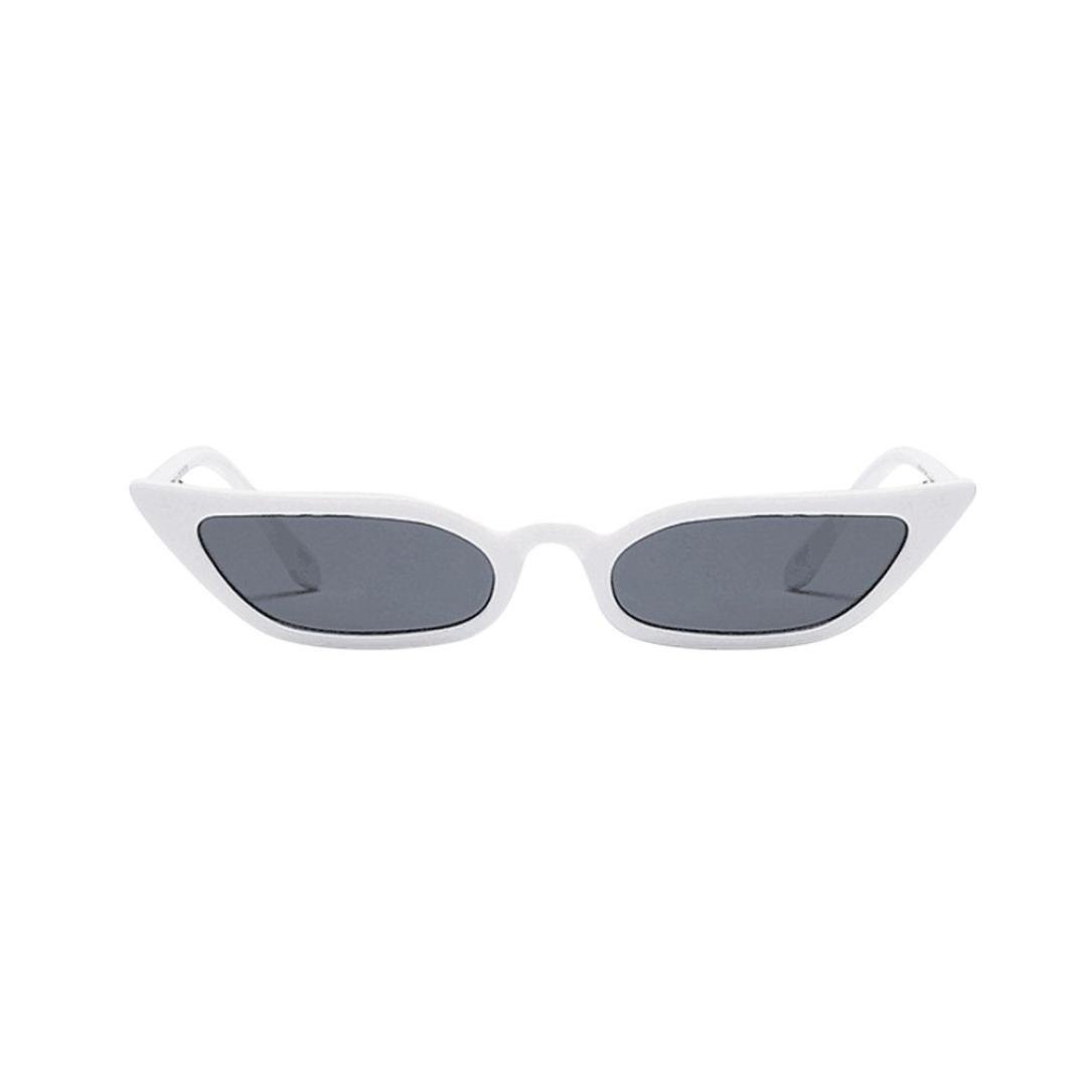MALLOOM Women Ladies Vintage Cat Eye Sunglasses Retro Small Frame Eyewear UV400 (White)