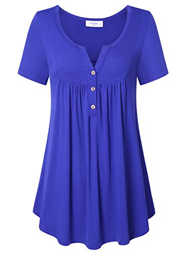 Lady T-shirt The Sophisticated - Ladies Tunic Tops, Ca Kra Womens Casual Short Sleeve T-shirt Button Front Solid Tunic Tops Blouse Blue X-Large