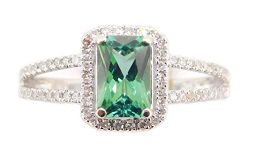 14k Gold Radiant Cut .96ct Green Genuine Natural Tourmaline Ring (#4001)