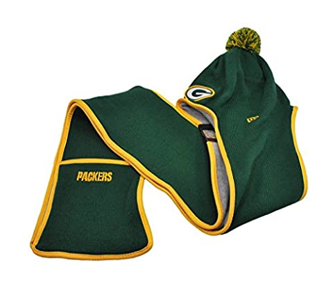 NEW ERA Fan Centric Hat Beanie Winter Knit Hooded Scarf Pockets Greenbay Packers (Green Bay Packers Hat Scarf)