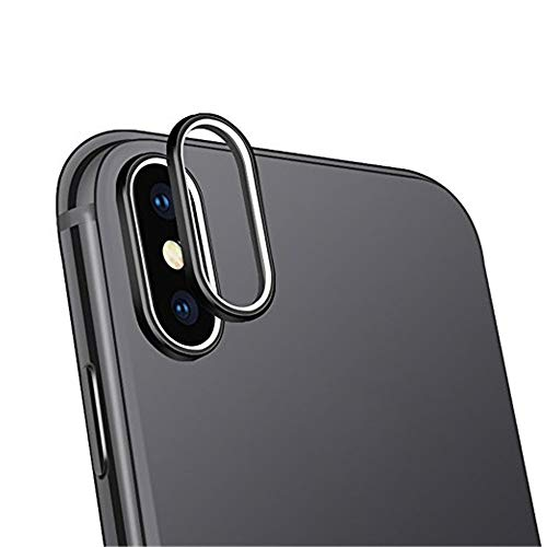 Sikye 9H Hardness Tempered Glass HD Back Camera Lens Film Protector and Metal Lens Protective Ring Cover for iPhone Xs/XS Max (iPhone Xs Max, Black (2pcs))