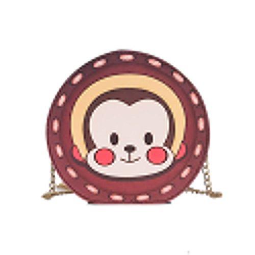 Majome Bolso redondo pequeño,Bolso de hombro de las mujeres cuero de la PU Animal lindo impreso bolso de la cadena del metal bolsas de mensajero ocasionales 2