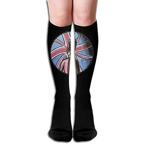 HUAHUADESIGN England National Vintage Distressed Design Athletic Long Dress Socks High Fun Sock (England Lingerie)