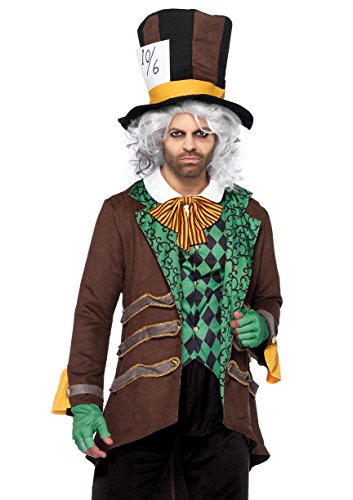 Leg Avenue Men's 5 Piece Classic Mad Hatter Costume, Brown, -