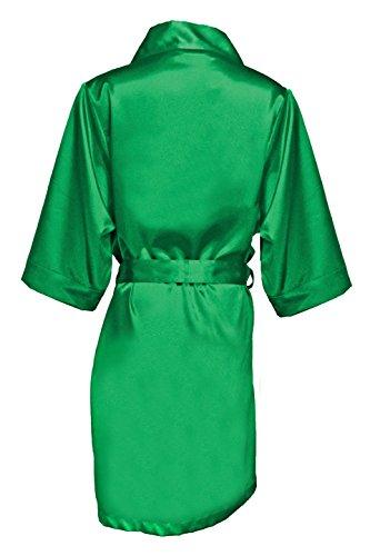 Women's Emerald Satin Bridal Blank Robe S/M ()