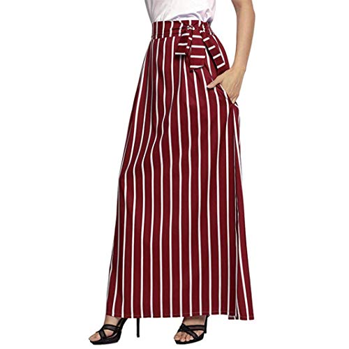 Suit Wool Skirt Red (DEATU Ladies Skirt, Teen Women Casual Classic Striped Ankle-Length Empire Vintage Long Skirt Dress(Red,XL))