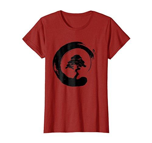Womens Bonsai Tree Enso Circle - Buddhist Zen Calligraphy T-Shirt Small Cranberry (Small Cranberry)
