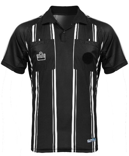 Admiral Short Sleeve Pro Soccer Referee Jersey, Black/White, Adult Small