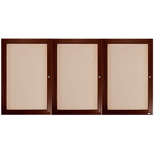 TableTop King WBC3672-3R 36'' x 72'' Enclosed Hinged Locking 3 Door Bulletin Board with Walnut Finish by TableTop King