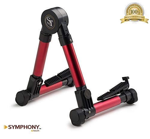 Symphony Tech Guitar Stand for Acoustic/Electric/Classical Guitars, Violin, Ukulele, Bass, Banjo, Mandolin - Very Sturdy and Reliable - Foldable and Portable - Lightweight, Red