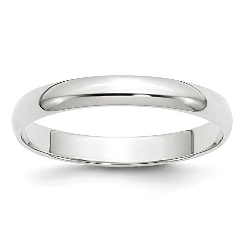 - 14k White Gold 3mm Half Round Wedding Ring Band Size 9 Classic Fine Jewelry Gifts For Women For Her