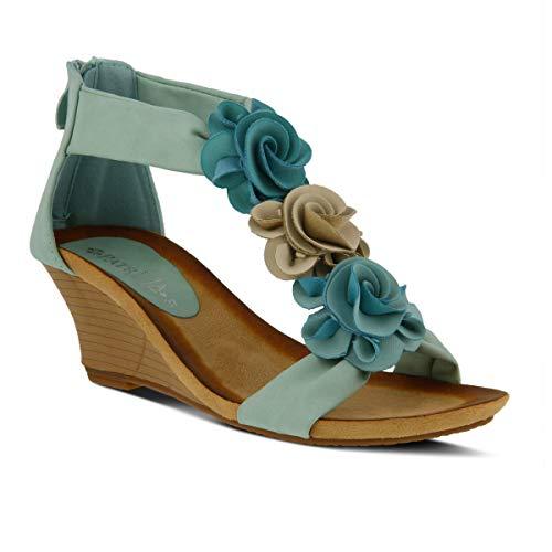 - PATRIZIA Women's Harlequin Wedge Sandal Aqua