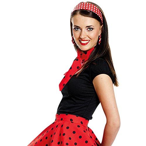 6daf066fbdc7bc Kostümplanet® 50er Jahre Rock n Roll Rock rot Gepunkteter Tellerrock  Rockabilly Damen Rockn Roll Kostüm: Amazon.de: Spielzeug
