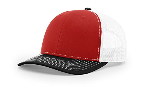 Running Partner Richardson 112 112P Trucker Mesh Snapback Hat Curved Bill with NoSweat Hat Liner (Adjustable Snapback Tri-Color Colorway, Red/White/Black) ()