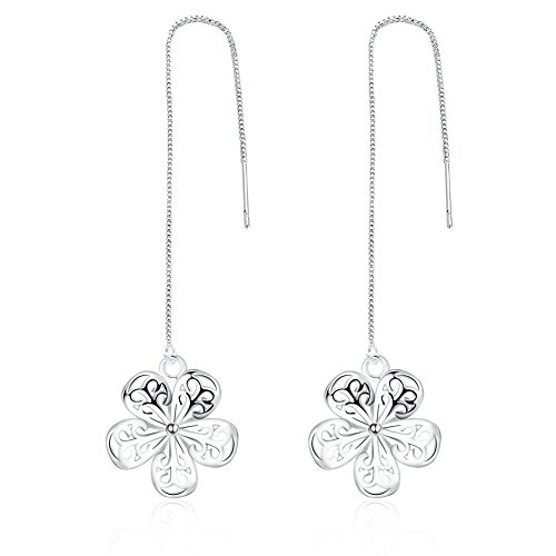 DazzlingShine 925 Silver Threader Drop Earrings Series (Five petals flower)