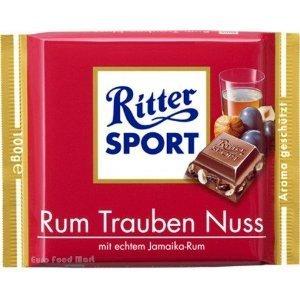 Chocolate Rum - Ritter Sport Rum Raisin Nuts 100g (12-pack)