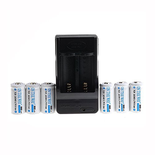 ON THE WAY®6pcs 16340 CR123A LR123A 3.7V 880mAh Rechargeable Li-Ion Battery + Dual Wall Charger