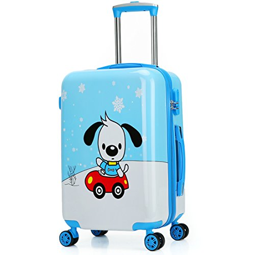 Children's Luggage Kids Luggage Case18'' 19'' 20'' (20inch, Blue car dog) by TOKERS
