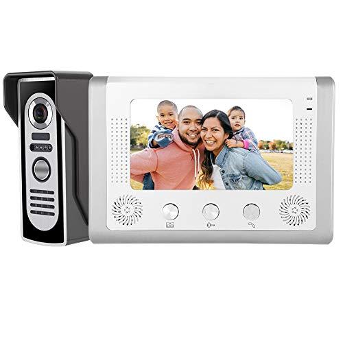 IR Night Vision Video Intercom Doorbell Door Phone, Video Door Phone Intercom System, 7inch Wired Color TFT-LCD Screen 100-240V(US)