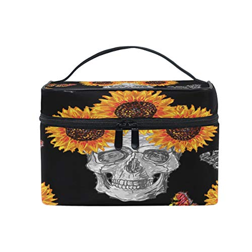Xling Makeup Bag Floral Flower Halloween Sunflower Cosmetic Case Travel Portable Carry Cosmetic Brush Box Organizer Storage for Girls Women -