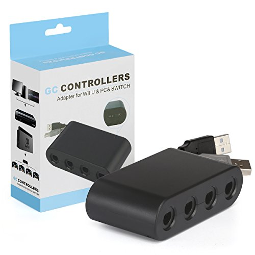 Wii U Gamecube Controllers Adapter GC Controller Adapter for Wii U & PC & Nintendo Switch 4 Port Work for Smash Brothers Game GameCube Adapter Plug and Play Black