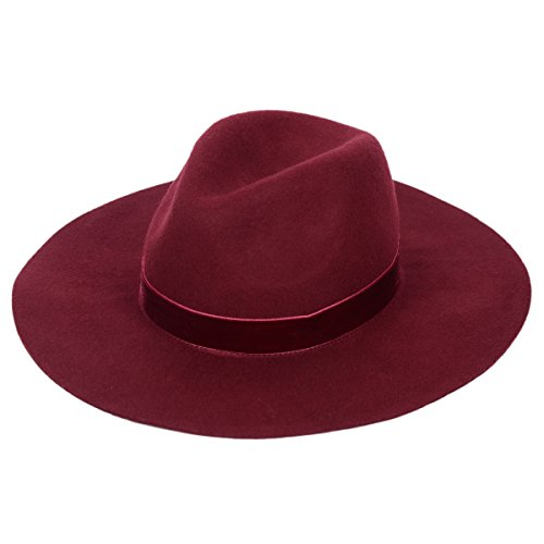 Panama Felt Hat women's Crushable Fedora With Wide Brim And Chic Band-Wine Red/Navy Blue (Wine (Fedora Hats Australia)