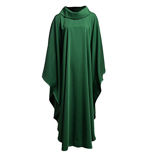 BLESSUME Church Priests Solid Chasuble Mass Vestments (Green- Cowl Collar)