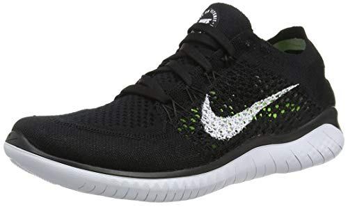 Nike Womens Free Rn Flyknit 2018 Low Top Lace Up Running, Black/White, Size 8.0 (Women Nike Cross Free Training)