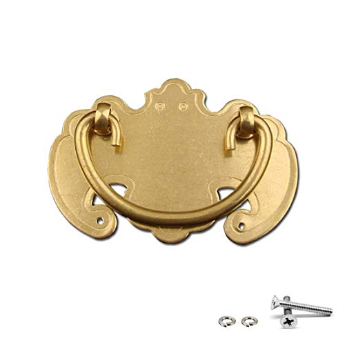 "3 Pack Antique Brass Finish Bail Pull Handle 1-5/6"" Hole Centers Drawer Finger Pull, Brass"