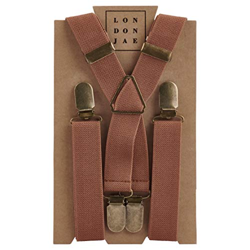 - Elastic Suspenders for grooms, groomsmen, ring bearers attire with Brass Clips - By London Jae Apparel (Light Brown, Kids Large)