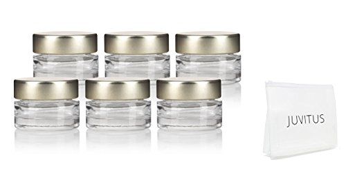 Clear Heavy Base Glass Luxury Travel Refillable Pot Container Jar with Gold Metal Lid - .25 oz / 7 ml (6 pack) + Travel Bag for Samples, Balms, Makeup and Cosmetics, Salves, Airtight and Lead Free 0.25 Ounce Glass