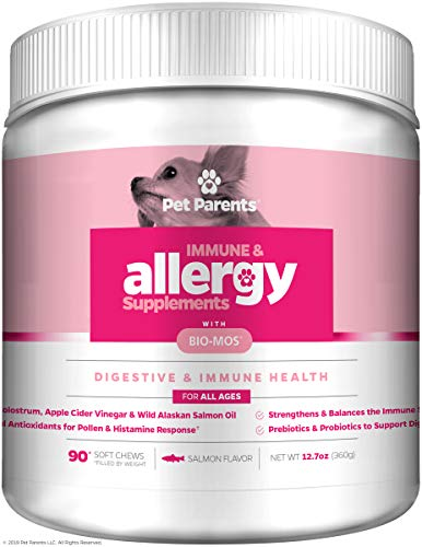 Pet Parents USA Dog Allergy Relief 4g 90 Count + Dog Immune Support - Salmon Oil for Dogs, Bio-Mos, Omega 3 for Dogs - Dog Anti Itch + Hot Spot Treatment - Dog Seasonal Allergies, Dog Itch Relief