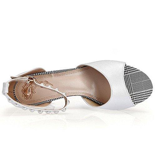 Toe White Mode Sandales Peep Femmes JOJONUNU tHwOqRgx