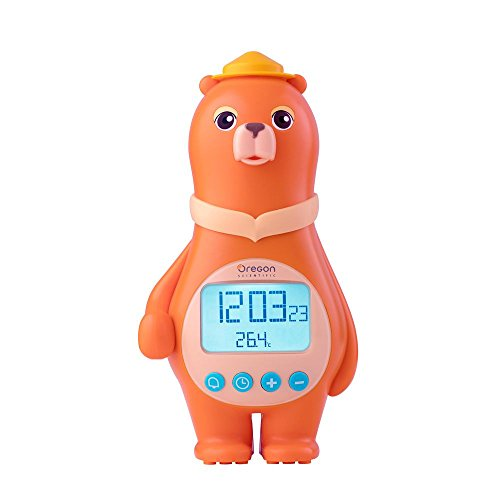Desk Clock Bear (Oregon Scientific Big Bear Alarm Clock with Digital Temperature Time Date for Children and Kids Home Bedroom, Tap Control, Easy Setting, AC/Battery Powered. (BC100) (Orange))