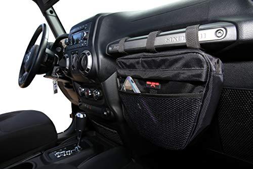 Badass Moto Gear Jeep Wrangler Storage Pouch. Waterproof Interior Accessories Organizer Bag Handles Phone, Sunglasses, Tools. EZ Access Mesh Pocket. Mount to Passenger Grab Handle. for JK TJ YJ CJ JL
