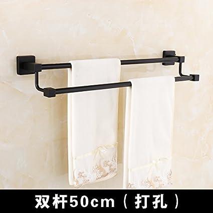 DIDIDD Toallero negro, dos barras de baño, barra de toallas antiguas,70cm