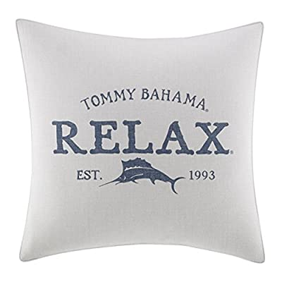 Tommy Bahama Raw Coast Relax 20 inch Dec Pillow, 20x20, Natural - Set inclues 1 20x20 sq decorative pillow Pillow cover features signature Tommy Bahama print and logo Pillow is machine washable, includes removable polyester insert - living-room-soft-furnishings, living-room, decorative-pillows - 41D8C8S1GTL. SS400  -
