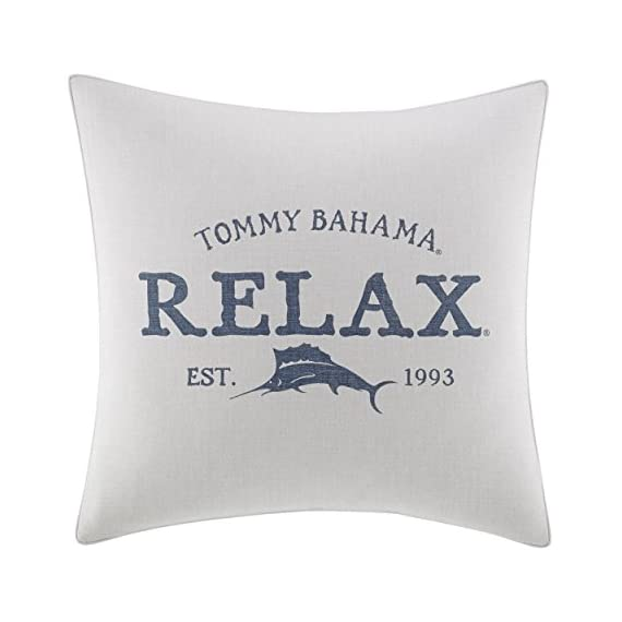 Tommy Bahama Raw Coast Relax 20 inch Dec Pillow, 20x20, Natural - Set inclues 1 20x20 sq decorative pillow Pillow cover features signature Tommy Bahama print and logo Pillow is machine washable, includes removable polyester insert - living-room-soft-furnishings, living-room, decorative-pillows - 41D8C8S1GTL. SS570  -