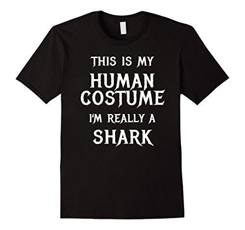 [Mens Shark Halloween Costume Shirt Easy Funny for Men Boys Girls 2XL Black] (Nurse Shark Costume)